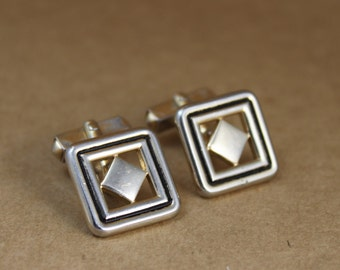 Vintage Gold and Black Geometric Cufflinks by Swank