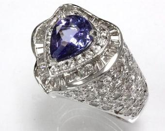 4.31 ct tw Natural Light Blue Violet Tanzanite & Diamond Gold Heart Ring