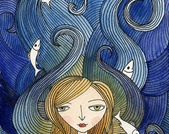Art Print Illustration Watercolor - Girl with Fish, Open Edition