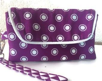 Wristlet, Wristlet Wallet, Smart Phone Wallet,  iPhone Wallet, Clutch Wallet, Fabric Wallet, Purple Wristlet, Phone Wristlet, Gift for Her