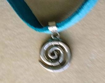 Circle Charm Choker, Small Swirl Pendant, Spiraling pattern, Thin Blue Velvet, Charm Choker Necklace- Velvet Choker by enchantedbeas on Etsy