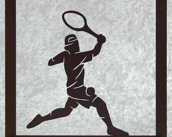Tennis silhouette cut out wooden frame
