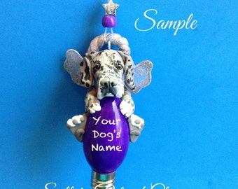 Blue Merle Great Dane Angel Dog natural ears Christmas Light Bulb Ornament Sally's Bits of Clay PERSONALIZED FREE with dog's name