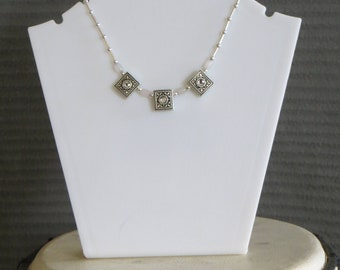 3 sworosky crystal, stone and metal bead necklace