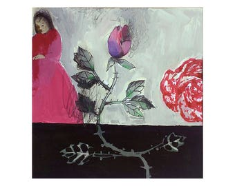 Woman Rose flower love original illustration Valentine's day people figurative MATTED acrylic painting square