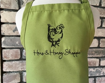 Customized Apron with Hen and Text