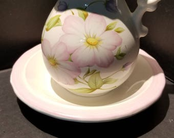 White Pitcher and Basin with Pink Trim
