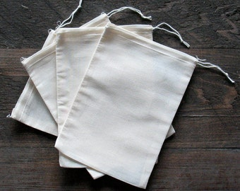 500 5x7 Cotton Muslin Natural Drawstring Bags