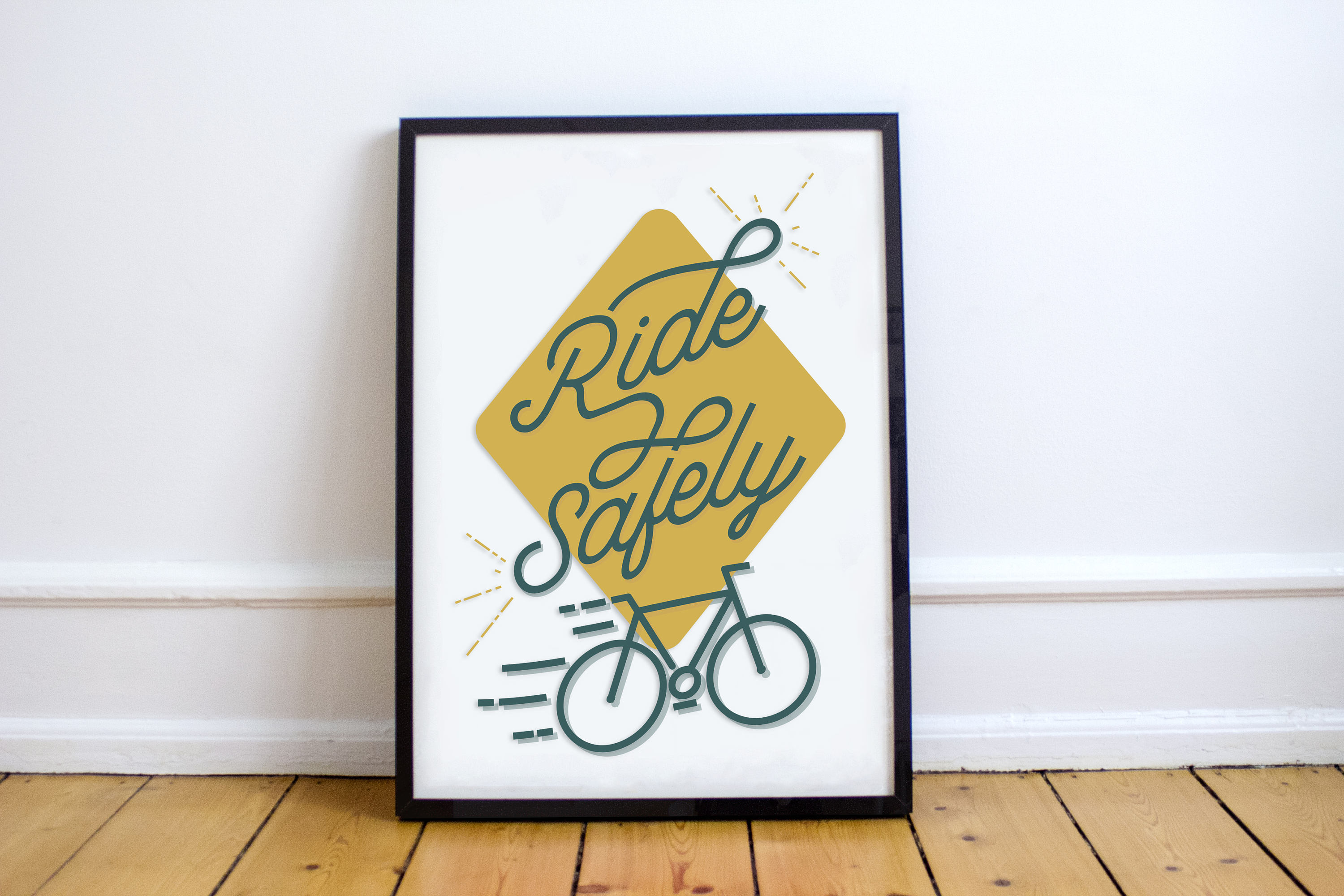 Ride Safely Bicycle Art Bicycle Print Bike Poster Wall