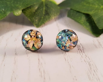 Black Flake Resin Button Stud Earrings - Hypo-Allergenic Surgical Steel