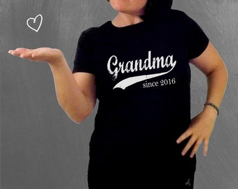 Grandma since ANY year, screenprinted t-shirt, grandmother gift, Christmas gift for women, womens fitted tee, graphic tee