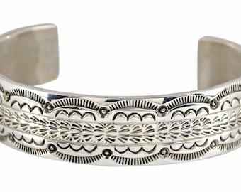 Rare VTG Leonard James Hand Stamped .925 Sterling Silver Cuff Bracelet