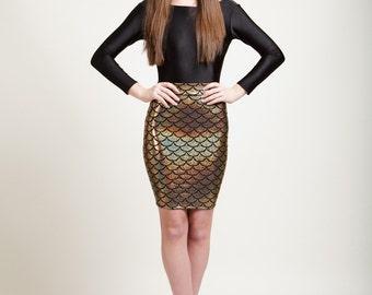 Mediterranean Gold Mermaid Bodycon Pencil Skirt in Metallic Holographic Sparkles