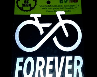 """BIKE FOREVER 4""""X4"""" Reflective Iron On patches for clothing and accessories"""