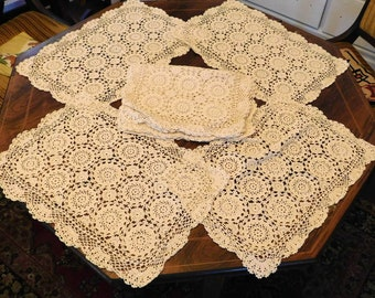 Lot of 8 Vintage Filet Crochet Doily Placemats - Ivory Off-White Cream Doilies - Gorgeous Handmade Lace - Mint Condition - Buy 8 or 4