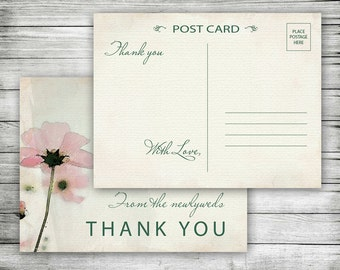 Watercolor Thank You Postcard ~ Pink Floral Thank You Card, Printable, Poppies, Weddings, Newlywed, Bridal, Vintage,