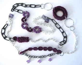 "Fiberpunk™ Necklace - Lavender Violet - Extra Long 25"" / Fiber Jewelry / Crochet Jewelry / Tatted Jewelry"