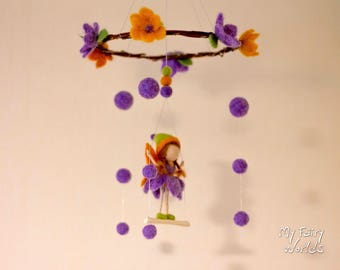Spring Fairy Baby Mobile. Waldorf Inspired. Ready to Ship