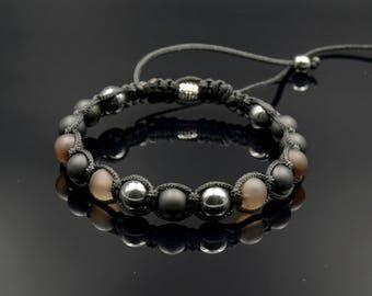 Men's Gemstone Bracelet/Agate Onyx Hematite Bead Bracelet for Men/Beaded Shamballa Bracelet/Macrame Bracelet/Gift for Men/Herren Armband