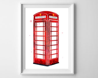 Red Phone Booth Art - Red Telephone Box Print, London Phone Booth, British Decor, England Poster, Wall art, Wall decor, Watercolor painting