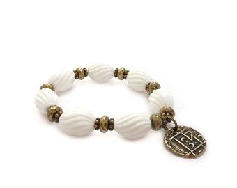 White Yoga Charm Bracelet - Fluted Vintage Beads - Stacking Bracelet - Bohemian Bracelet - Yoga Jewelry