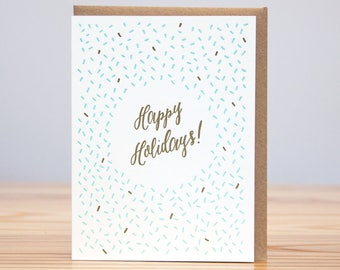 Holiday Card - Happy Holidays Pattern Card // Letterpress