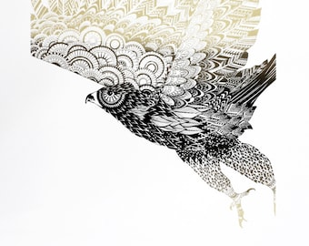 Limited edition eagle screen print - hand printed bird art - bird of prey print - gold and black art - screen printed art - 50 x 70 cm