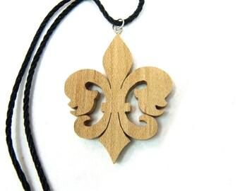 Wood fleur-de-lis Necklace with Cord. fleur-de-lys