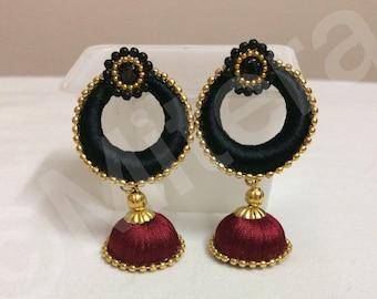Silk thread earrings - Chandbali earrings