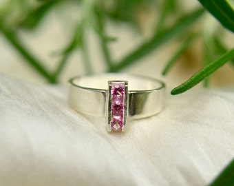 Pink Tourmaline Ring, Sterling Silver 3 Stone Ring, Statement Ring, October Birthstone Ring, Channel Set Gems, 3mm Gems, Free Shipping