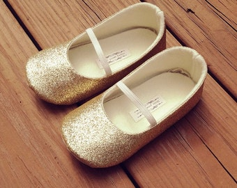 Toddler Girl Shoes Baby Girl Shoes Soft Soled Shoes Wedding Shoes Flower Girl Shoes Glitter Shoes Glitter Gold Shoes  - Eloise