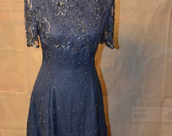 Blue silk and beaded evening dress size 2