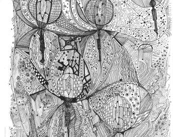 Original Abstarct Ink Drawing
