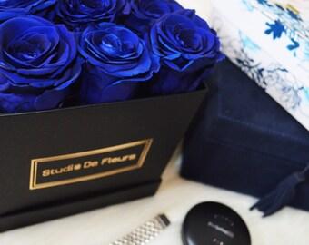 Blue Rose Arrangement in Square Box