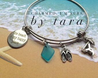 Beach is my happy place stainless steel bangle charm bracelet