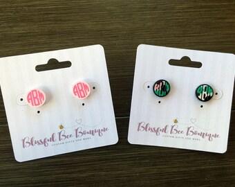 Monogrammed Earrings, Monogram Earrings, Personalized Earrings, Custom Earrings