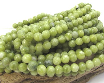 Green Serpentine Beads, Natural Green 6mm Round Beads, 16 inch Strand, 6mm Green Beads, Beading Supplies, Item 1341pm