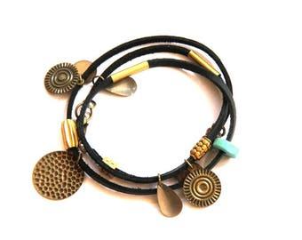 Black Leather and Brass Charm Wrap Bracelet