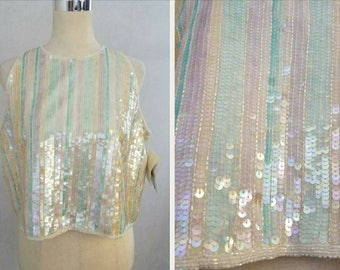 DEADSTOCK Pastel Vintage Sequin and Beaded Top/ Iridescent/ XL-XXL