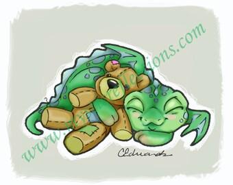 Sleepy Teddy Dragon Doodle Art Print