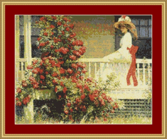 Crimson Rambler Cross Stitch Pattern /Digital PDF Files /Instant downloadable