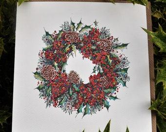 Festive Berry Wreath Greeting card 6 x 6 ''