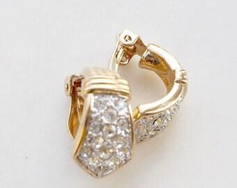 Vintage stone set clip on earrings