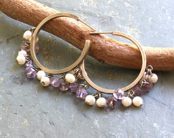 Amethyst and Pearl Earrings  Amethyst Silver Hoop Earrings  Bead Dangle Silver Hoop Earrings