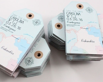 Wedding invitation Columbia Map Save the Date Luggage Tag Magnet. Destination Wedding.