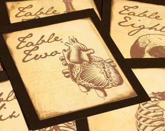 Anatomy Table Number Gothic Wedding Decor Phrenology Anatomical Heart Medical Spooky Bones Horror Science Lab Halloween