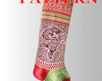 Knitting Instruction for Christmas Stockings.Pattern Socks Fair Isle.Pattern Small Figure Skater.Xmas Stocking Pattern.PDF Pattern – A 28