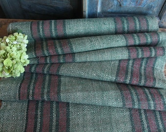 P 325/C antique handloomed lin MOOS GREEN and RED 4.15yards by 24.80inches ; upholstery fabric wool and lin cushion pillow
