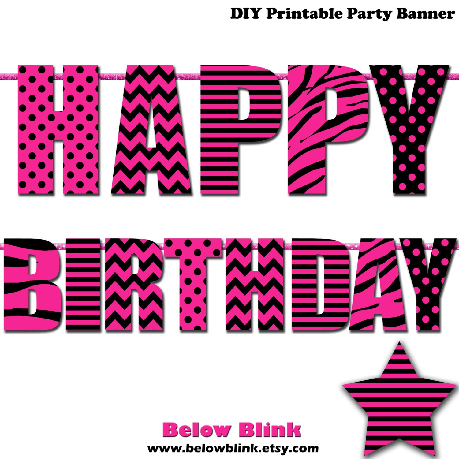 Sweet 16 Happy Birthday Banner Printable Banner Pink And