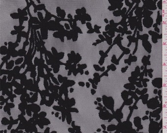 Black Floral Flocked Tulle, Fabric By The Yard